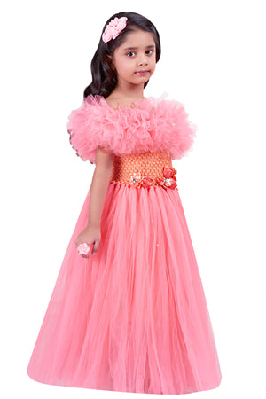 Peach  Off Shoulder Ruffle  Gown