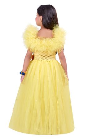 Yellow Off Shoulder Ruffle  Gown