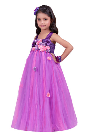 Pink Purple Flower Gown