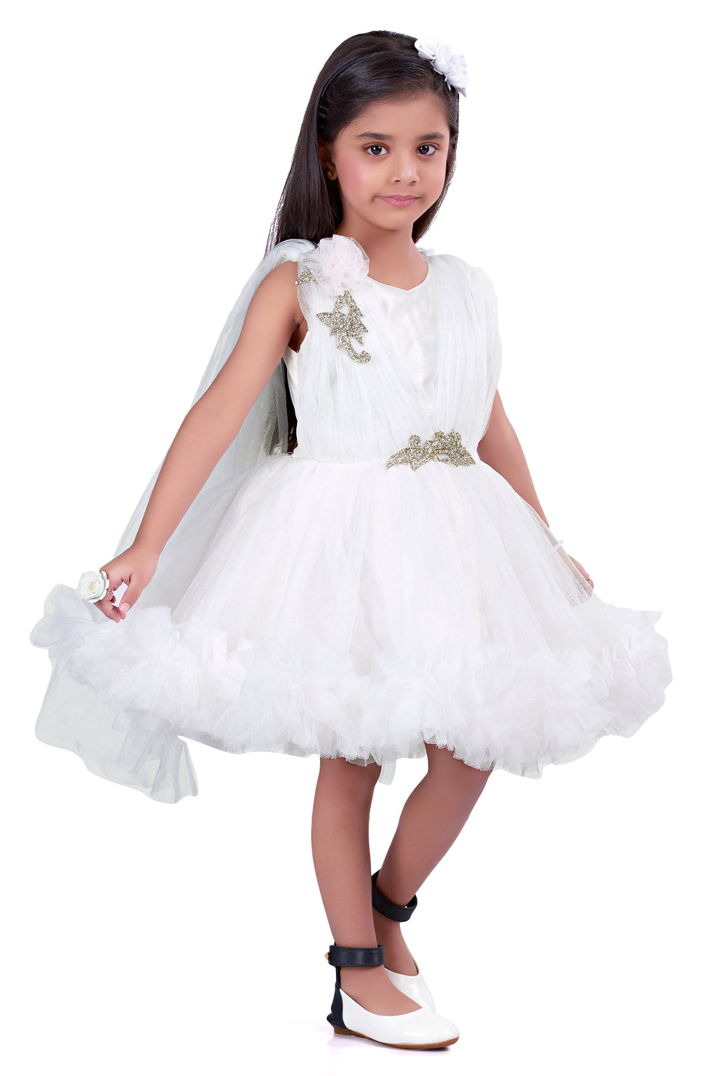 White Ruffle Party  Frock