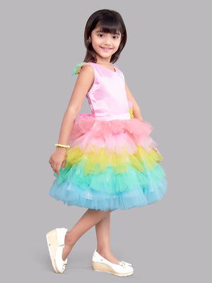 Colourful Unicorn Layered Party  Frock