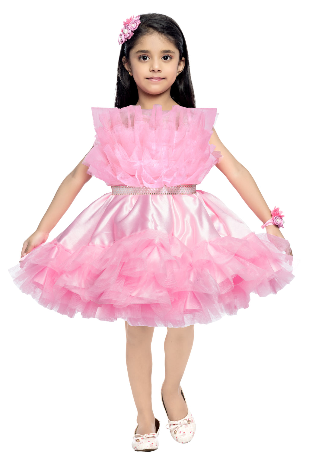 Stylish Ruffle Pink Party  Frock