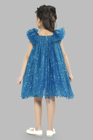 A Line Sequins Blue  Dress
