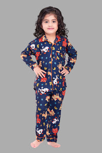 Catty Print FullSleeves Cotton Nightsuit