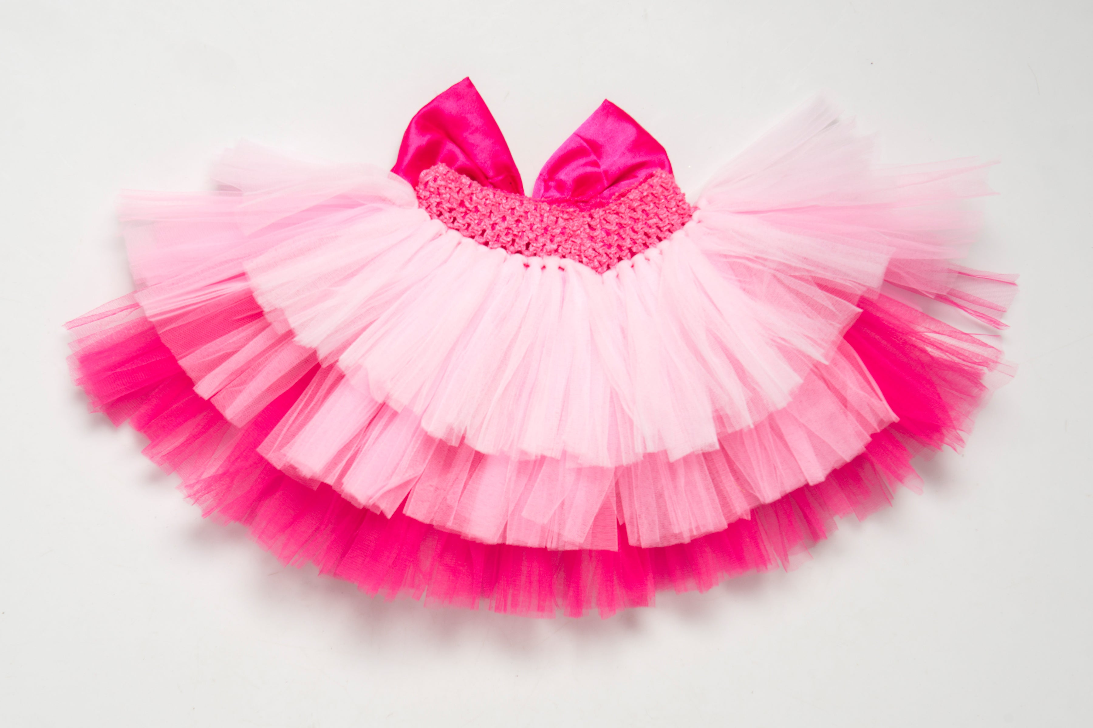 Pink Layers Tutu Skirt  with Bow