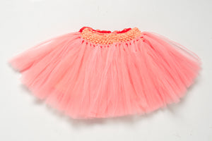 Peach Tutu Skirt with Flowers