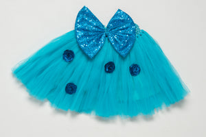 Blue Tutu Skirt with Sequins Bow