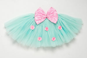 Aqua and Pink  Tutu Skirt with Sequins Bow