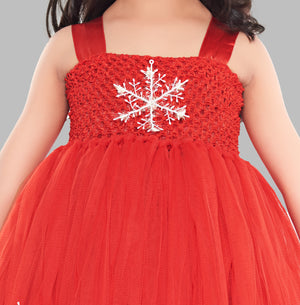 Christmas Red Tutu Frock With Snowflakes
