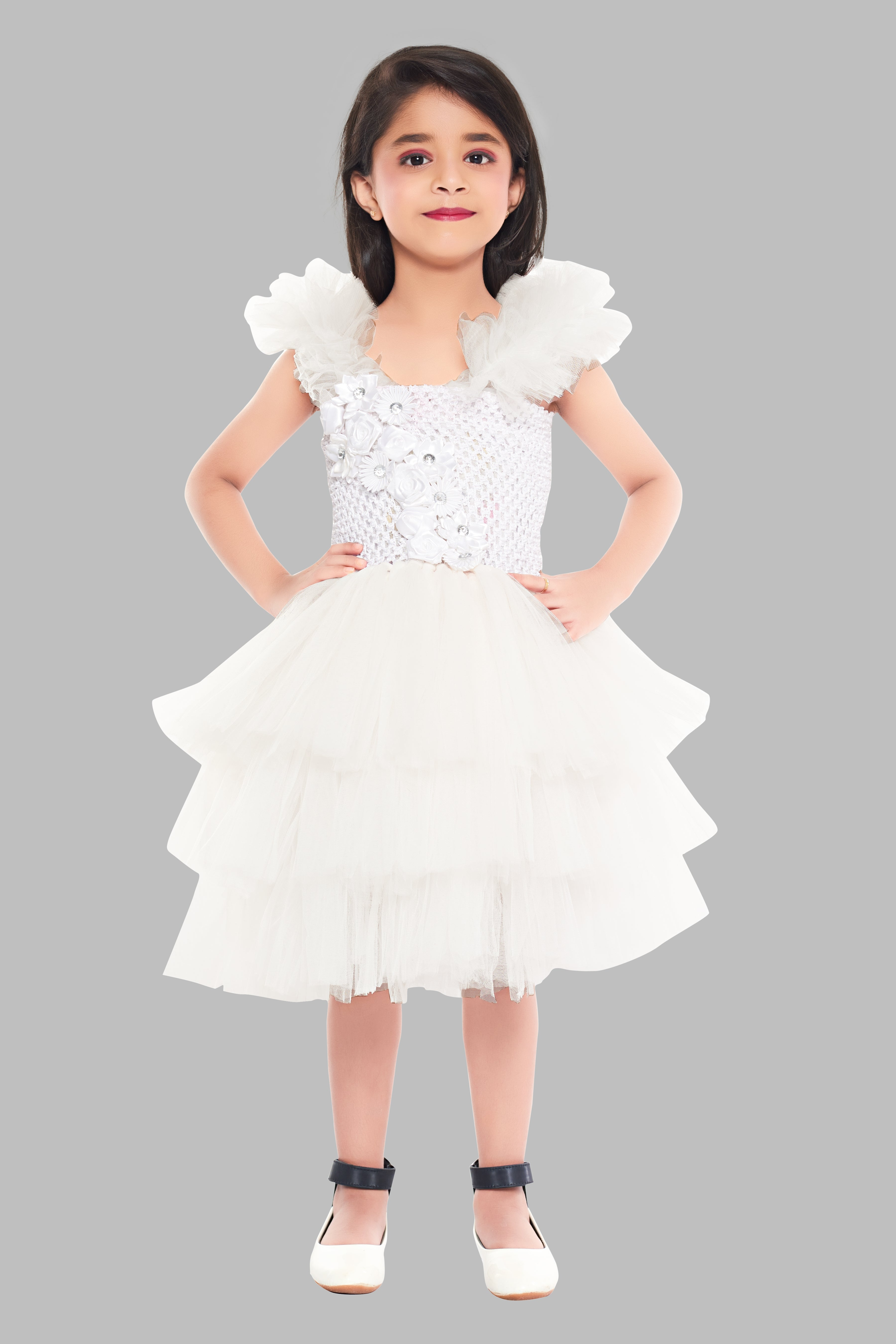 Christmas White Layered Tutu Dress