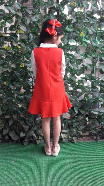 Smart Red Pinafore Dress