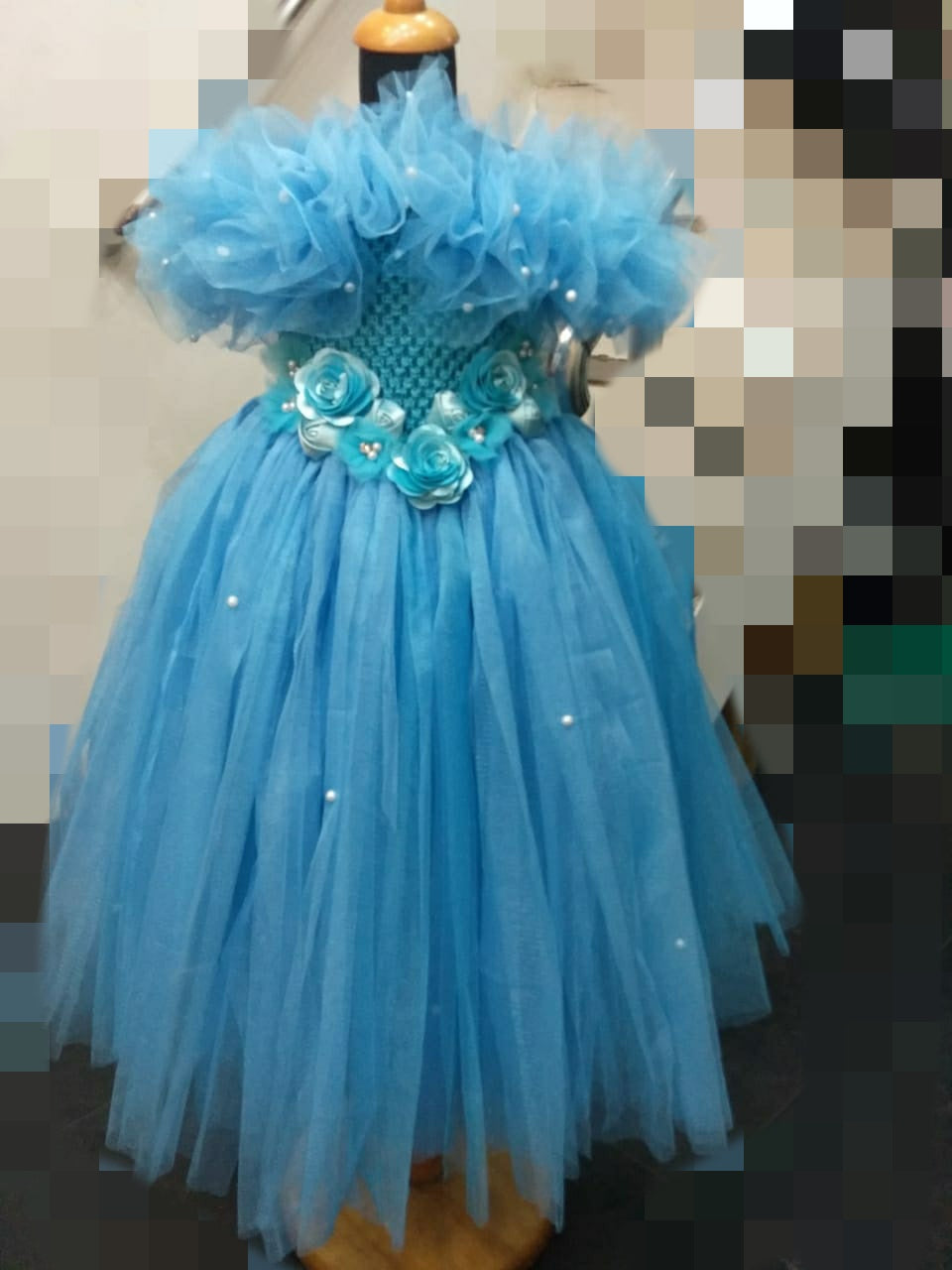 Ruffle Blue Gown