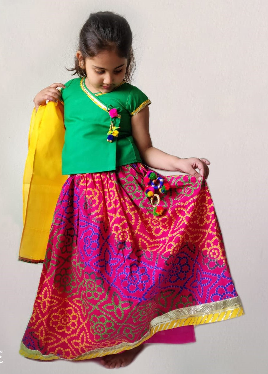 Cotton Lehenga --- Bhandej Pink & Green