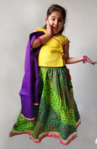 Cotton Lehenga --- Bhandej Yellow and Green