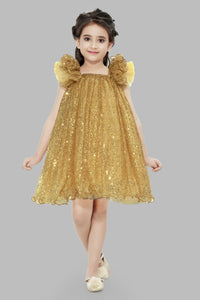 A Line Sequins Gold Dress