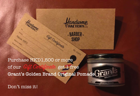 4 Haircut Gift Certificates + Grant's Original Pomade