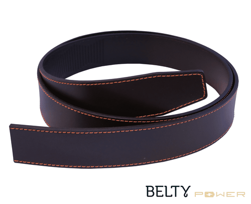 Brown real split leather for Belty Power with orange stitches - Belty