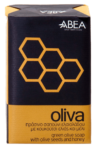 OLIVA Green olive soap with olive seeds and honey (scrub)-125gr
