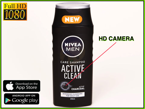Bathroom spy camera FullHD 1080p Nivea shampoo new 2017
