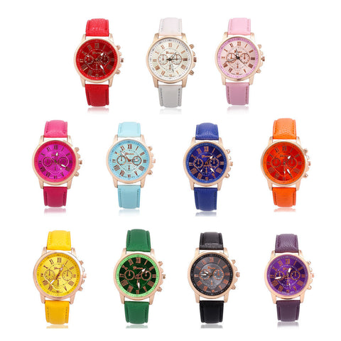 Fashion COLOR Watch Geneva Leather Stainless for Women