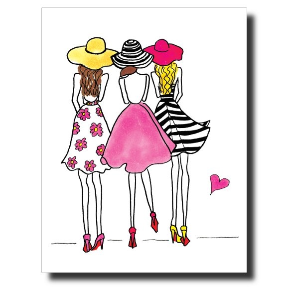 3 Party Girls card by Janet Karp