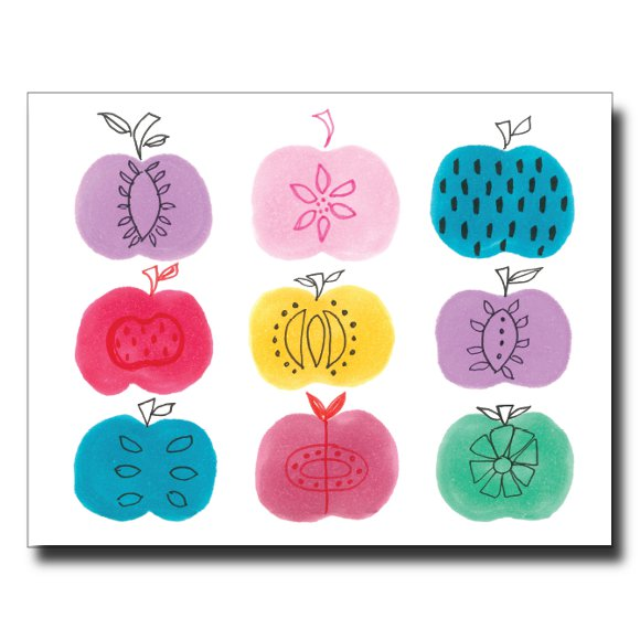 9 Apples card by Janet Karp