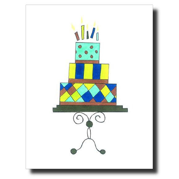Blue Birthday card by Janet Karp