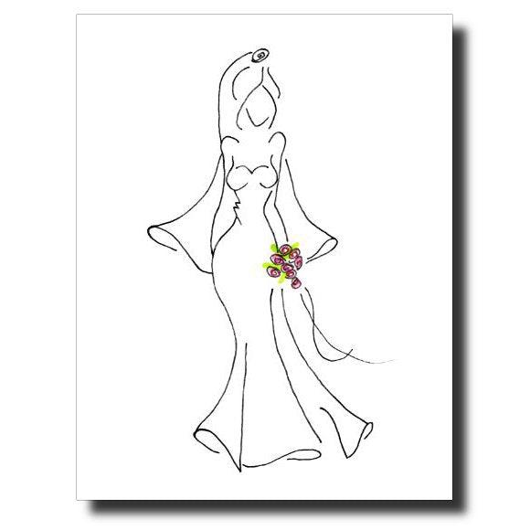 Bride with Bouquet card by Janet Karp