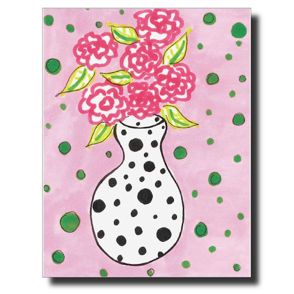 Flowers and Polka Dots card by Janet Karp