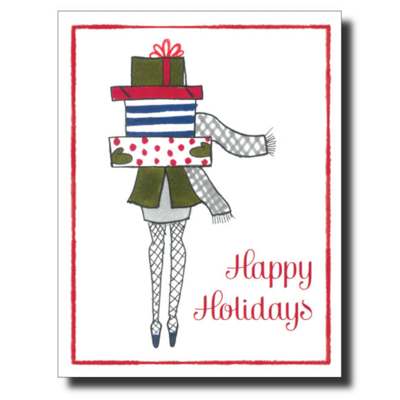 Holiday Girl card by Janet Karp