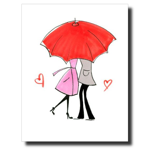 Red Umbrella card by Janet Karp