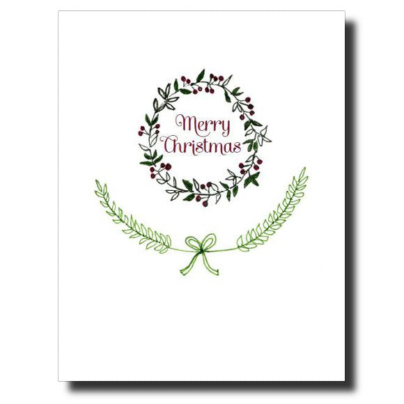 Merry Christmas Wreath card by Janet Karp