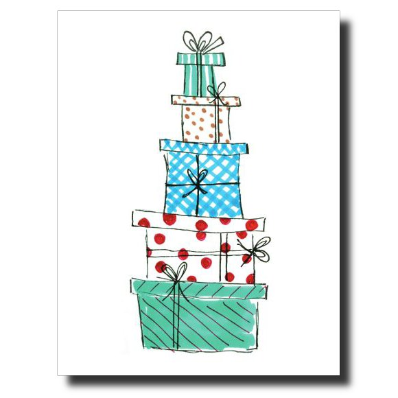 Pile of Presents card by Janet Karp