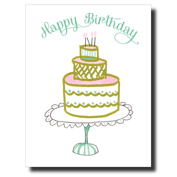 Pink and Green Birthday card by Janet Karp