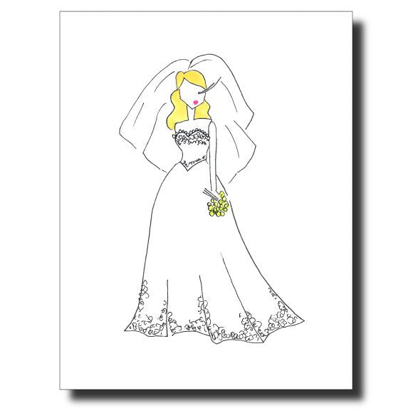 Pretty Bride card by Janet Karp