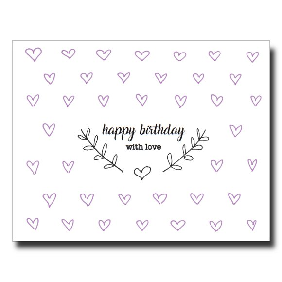 Purple Hearts card by Janet Karp