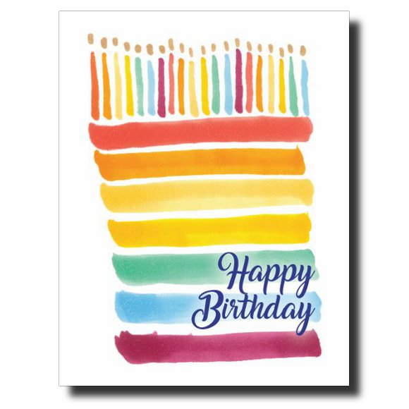 Rainbow Stripe Birthday card by Janet Karp