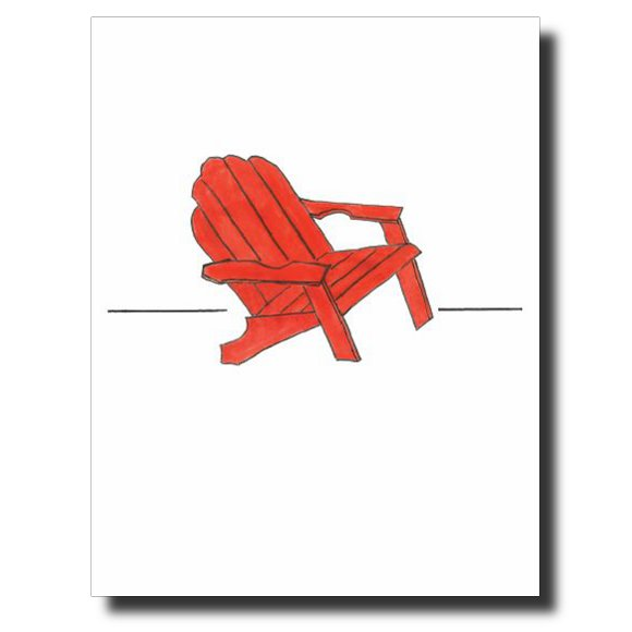 Red Muskoka Chair card by Janet Karp