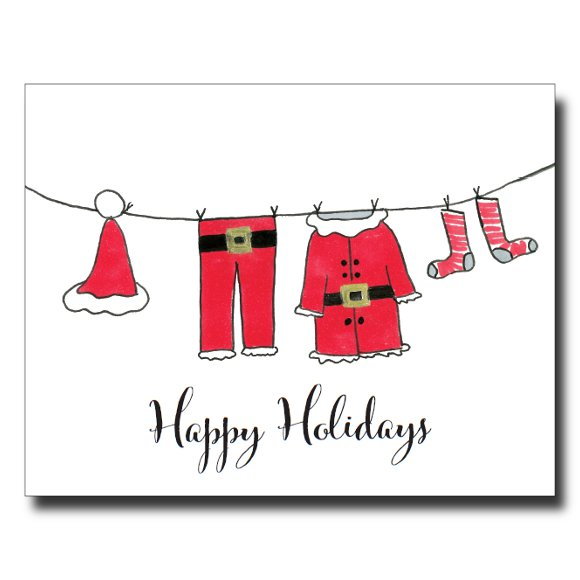 Santa's Clothesline card by Janet Karp
