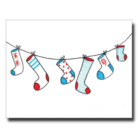 Stockings - Blue card by Janet Karp