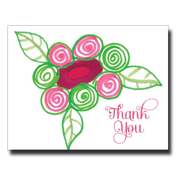 Thank You Flower Swirls card by Janet Karp