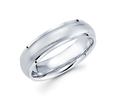 14K White Gold Brushed Finished Profile with 6mm Wedding Band for men
