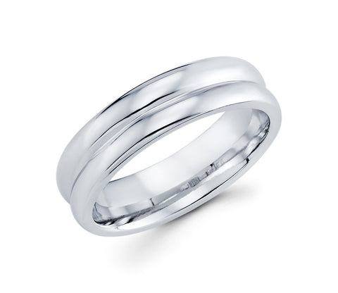 Classical 14K White Gold High Polished Finish 6mm Wedding Band With a Milgrain Cut for Men that Gives the Appearance of Two Rings in One