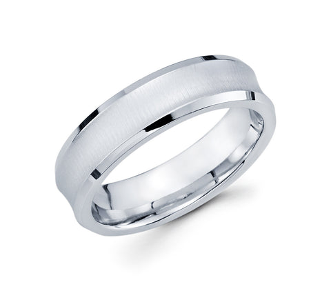 14K White Gold Brushed Finish with Concave Design and Polished Edges 6mm Modern Wedding Band for Men