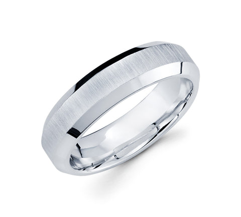 Remarkable 14K White Gold Concave Design with Beveled Edges Classic 6mm Weddeing Band for Men