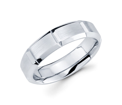 Unique 14K White Gold with Vertical Grooves in the Center Classical with a Satin Finish 6mm Wedding Band for Men