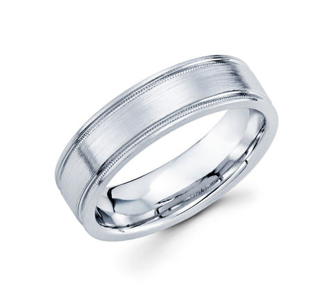 Unique 14K White Gold with Two Milgrain Designed Lines on the Edges & Satin Finish 6mm Wedding Band for Men