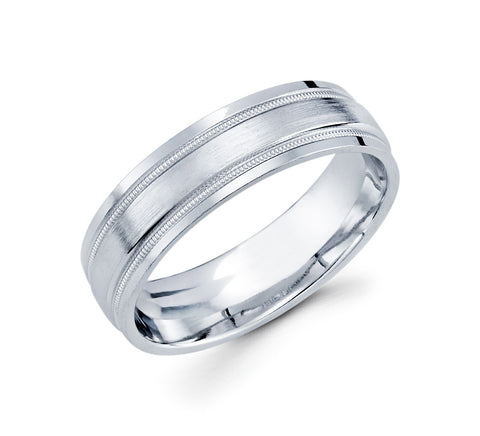 Unique 14K White Gold with Two Milgrain Lines on the Edges Satin Finished 6mm Wedding Band For Men