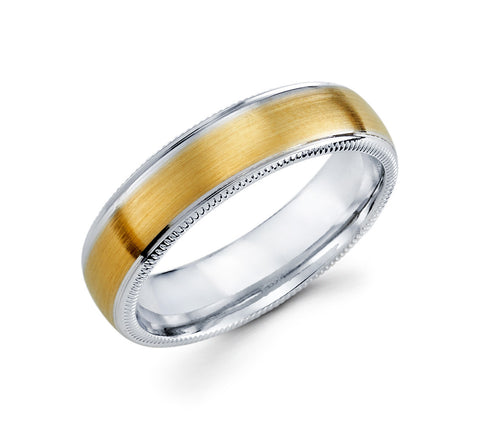 14K White & Yellow Two Tone Gold with Milgrain Design Edges 6mm Wedding Band for Men
