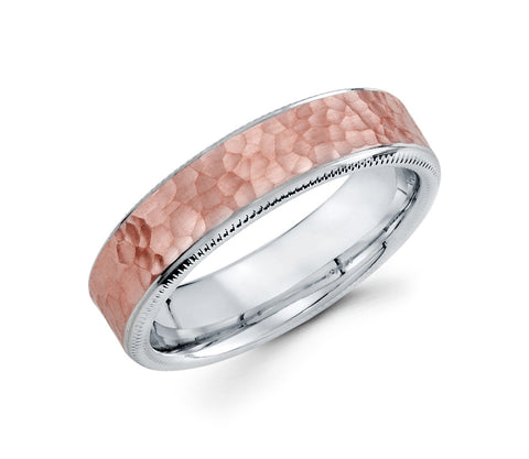 14K Rose and White Gold Two Tone Hammer Finished in Center and Milgrain Edges 6mm Wedding Band for Men